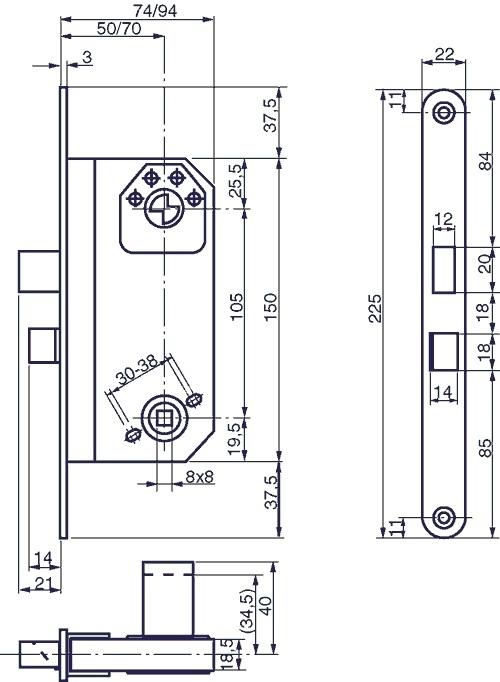 565 Modull 229 Sekasse H 248 Jre Vendbar Dornm 229 L 50 Mm